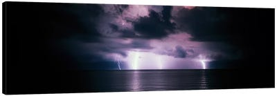 Purple Sky & Lightning Bolts Over The Gulf Of Mexico Canvas Art Print