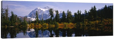 Reflection of trees and Mountains in a Lake, Mount Shuksan, North Cascades National Park, Washington State, USA Canvas Art Print
