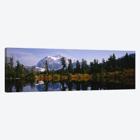 Reflection of trees and Mountains in a Lake, Mount Shuksan, North Cascades National Park, Washington State, USA Canvas Print #PIM5754} by Panoramic Images Art Print