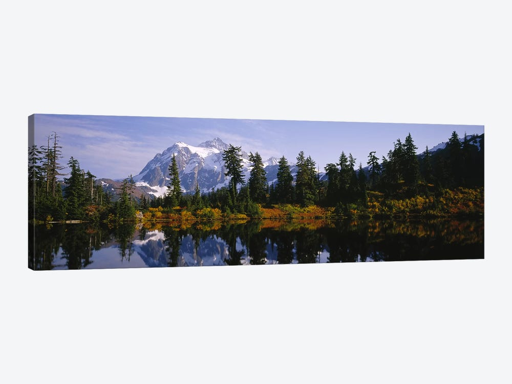 Reflection of trees and Mountains in a Lake, Mount Shuksan, North Cascades National Park, Washington State, USA by Panoramic Images 1-piece Canvas Art