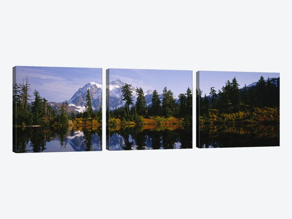 Reflection of trees and Mountains in a Lake, Mount Shuksan, North Cascades National Park, Washington State, USA by Panoramic Images 3-piece Canvas Wall Art