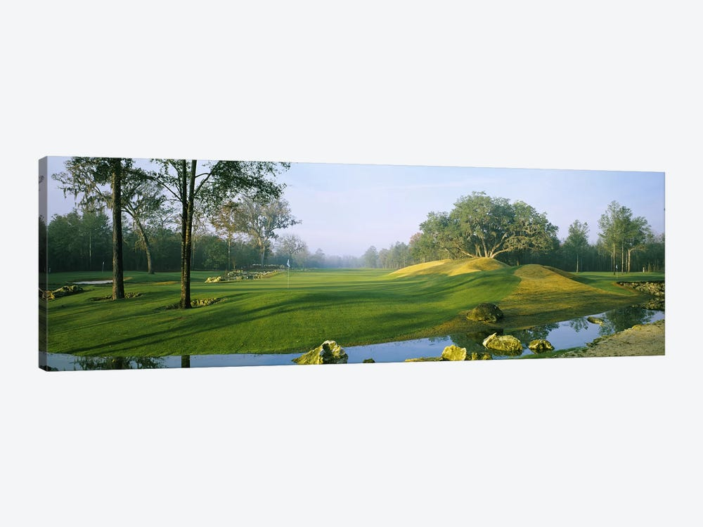 Wide-Angle View Of Streamside Greens (10th, 14th & 17th Holes), Haile Plantation Golf And Country Club, Gainesville, Florida by Panoramic Images 1-piece Canvas Wall Art