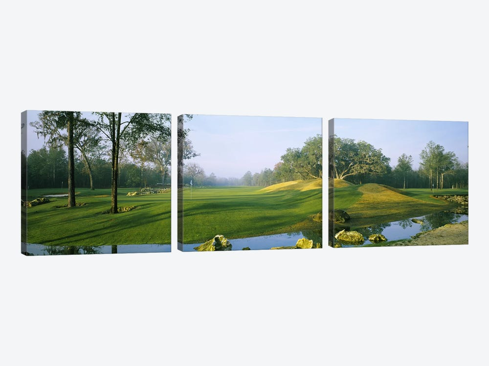 Wide-Angle View Of Streamside Greens (10th, 14th & 17th Holes), Haile Plantation Golf And Country Club, Gainesville, Florida by Panoramic Images 3-piece Canvas Wall Art