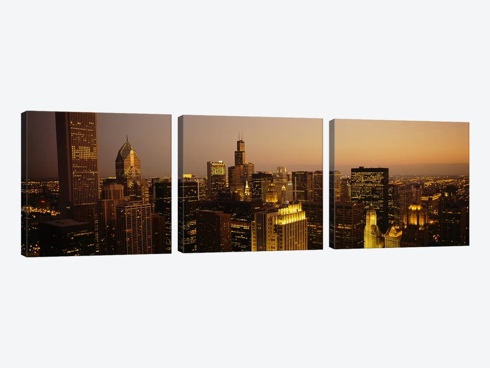 Skyscrapers in a city, Chicago, Illinois, USA #2 by Panoramic Images 3-piece Art Print