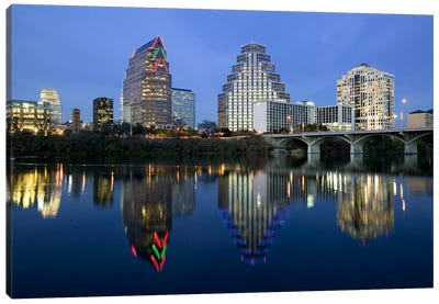 Reflection of buildings in water, Town Lake, Austin, Texas, USA Canvas Art Print