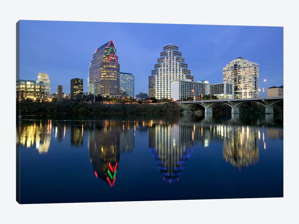 Reflection of buildings in water, Town Lake, Austin, Texas, USA by Panoramic Images 1-piece Canvas Art Print