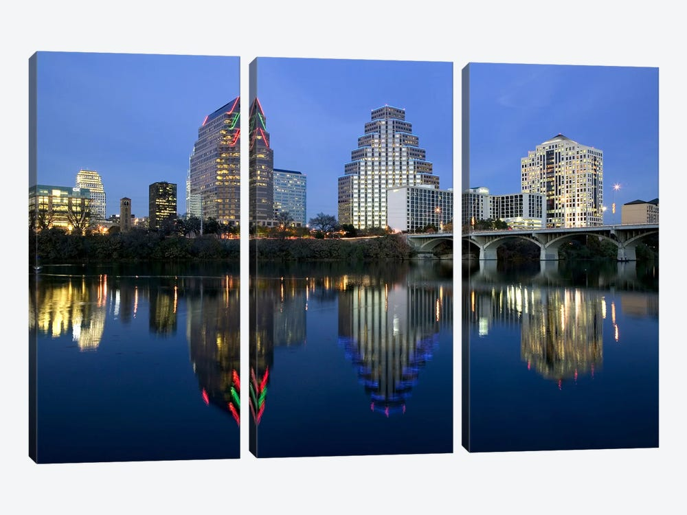 Reflection of buildings in water, Town Lake, Austin, Texas, USA by Panoramic Images 3-piece Canvas Print