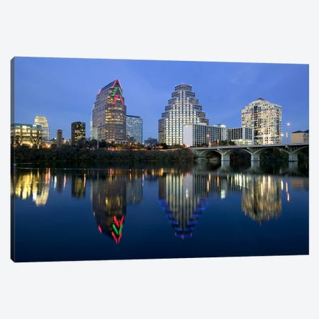 Reflection of buildings in water, Town Lake, Austin, Texas, USA Canvas Print #PIM5777} by Panoramic Images Canvas Art Print