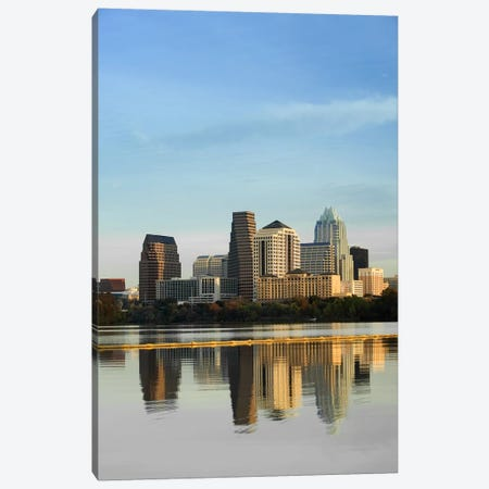 Reflection of buildings in water, Town Lake, Austin, Texas, USA #2 Canvas Print #PIM5778} by Panoramic Images Canvas Wall Art
