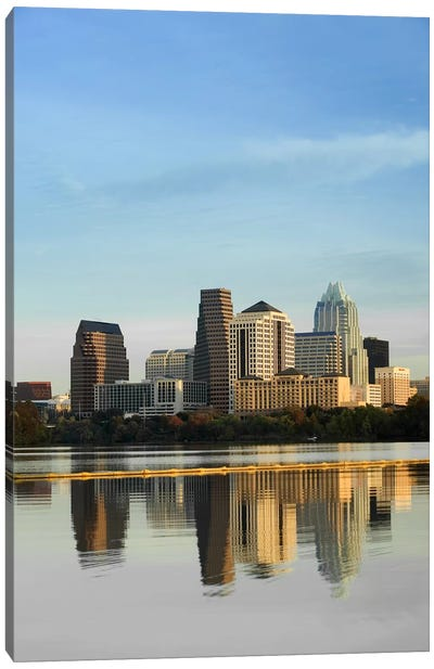 Reflection of buildings in water, Town Lake, Austin, Texas, USA #2 Canvas Art Print