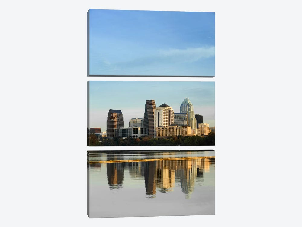 Reflection of buildings in water, Town Lake, Austin, Texas, USA #2 by Panoramic Images 3-piece Canvas Art