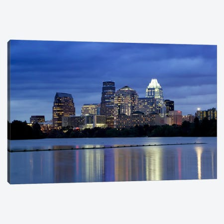 Buildings at the waterfront lit up at dusk, Town Lake, Austin, Texas, USA Canvas Print #PIM5779} by Panoramic Images Canvas Art
