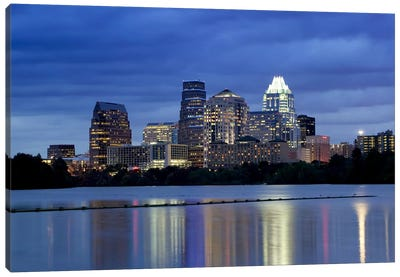 Buildings at the waterfront lit up at dusk, Town Lake, Austin, Texas, USA Canvas Art Print