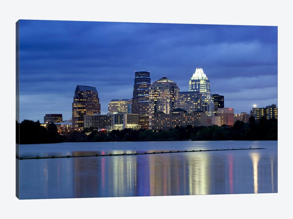 Buildings at the waterfront lit up at dusk, Town Lake, Austin, Texas, USA by Panoramic Images 1-piece Canvas Print