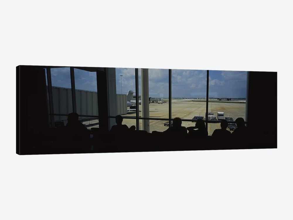 Silhouette of a group of people at an airport lounge, Orlando International Airport, Orlando, Florida, USA by Panoramic Images 1-piece Canvas Print