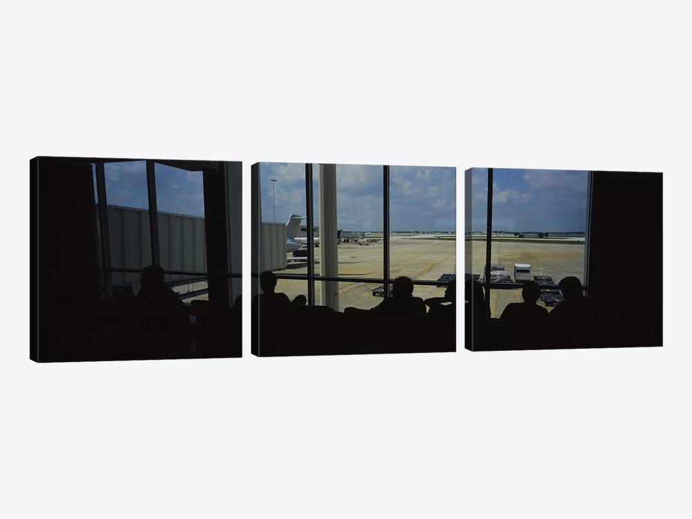 Silhouette of a group of people at an airport lounge, Orlando International Airport, Orlando, Florida, USA by Panoramic Images 3-piece Canvas Art Print