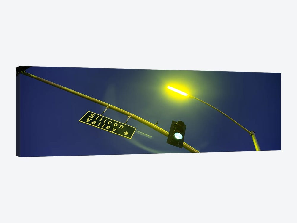 Low angle view of traffic light and a street sign, Silicon Valley, San Francisco, California, USA by Panoramic Images 1-piece Art Print