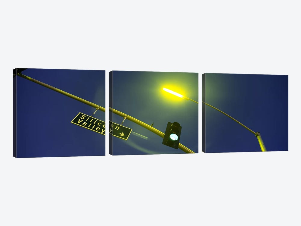 Low angle view of traffic light and a street sign, Silicon Valley, San Francisco, California, USA by Panoramic Images 3-piece Canvas Print