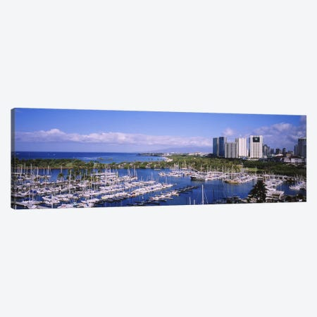 High angle view of boats, Ala Wai, Honolulu, Hawaii, USA Canvas Print #PIM5784} by Panoramic Images Canvas Artwork