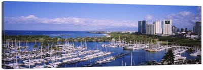 High angle view of boats, Ala Wai, Honolulu, Hawaii, USA Canvas Art Print