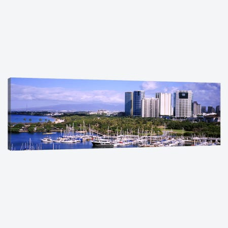High angle view of boats, Ala Wai, Honolulu, Hawaii, USA #2 Canvas Print #PIM5785} by Panoramic Images Canvas Artwork