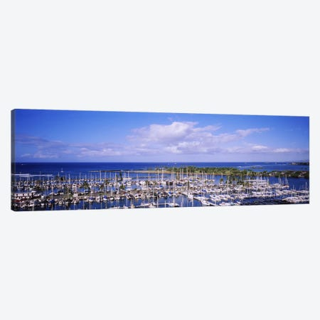 High angle view of boats in a row, Ala Wai, Honolulu, Hawaii, USA #2 Canvas Print #PIM5787} by Panoramic Images Canvas Art