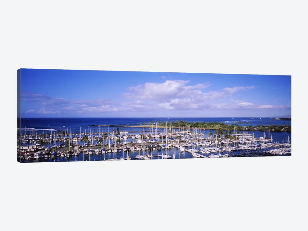 High angle view of boats in a row, Ala Wai, Honolulu, Hawaii, USA #2 1-piece Canvas Artwork