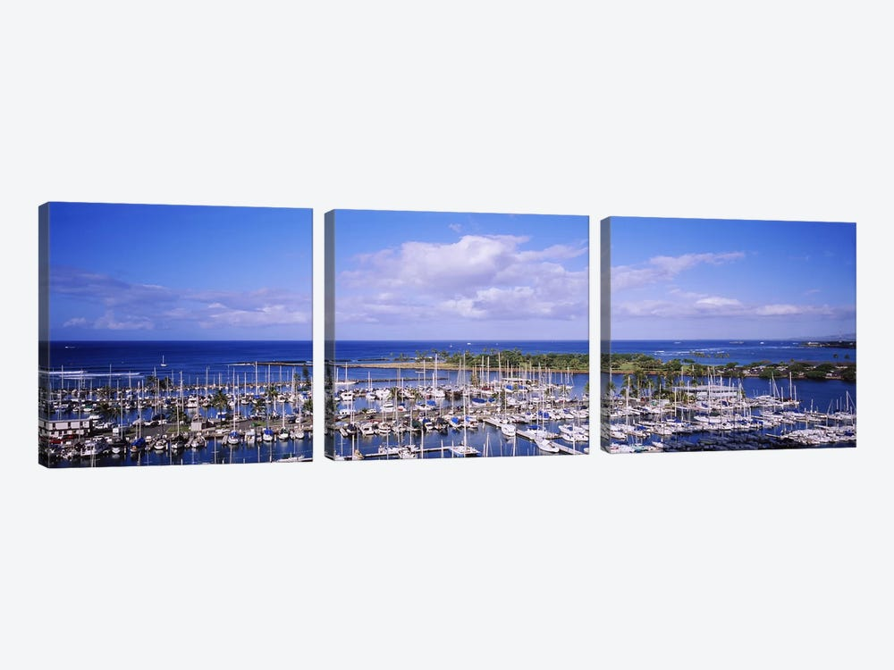 High angle view of boats in a row, Ala Wai, Honolulu, Hawaii, USA #2 by Panoramic Images 3-piece Canvas Artwork