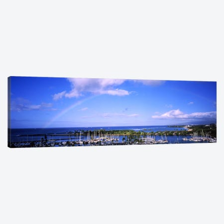 High angle view of boats, Ala Wai, Honolulu, Hawaii, USA #3 Canvas Print #PIM5788} by Panoramic Images Canvas Print