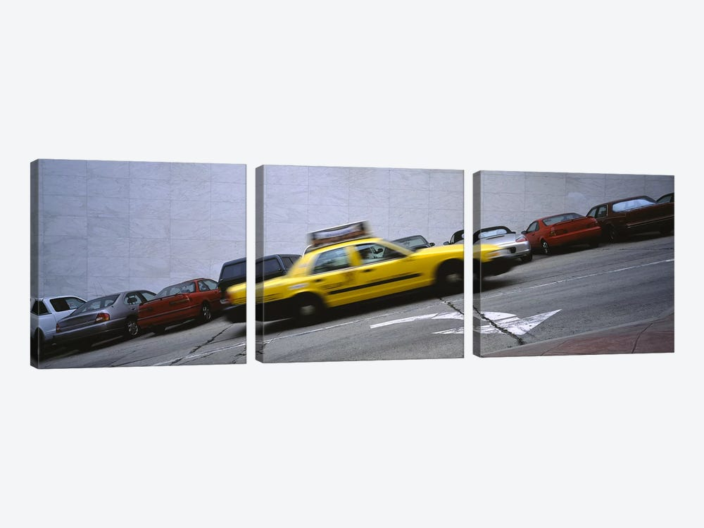 Taxi running on the road, San Francisco, California, USA by Panoramic Images 3-piece Canvas Wall Art