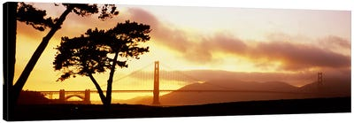 Silhouette of trees at sunset, Golden Gate Bridge, San Francisco, California, USA Canvas Print #PIM5790