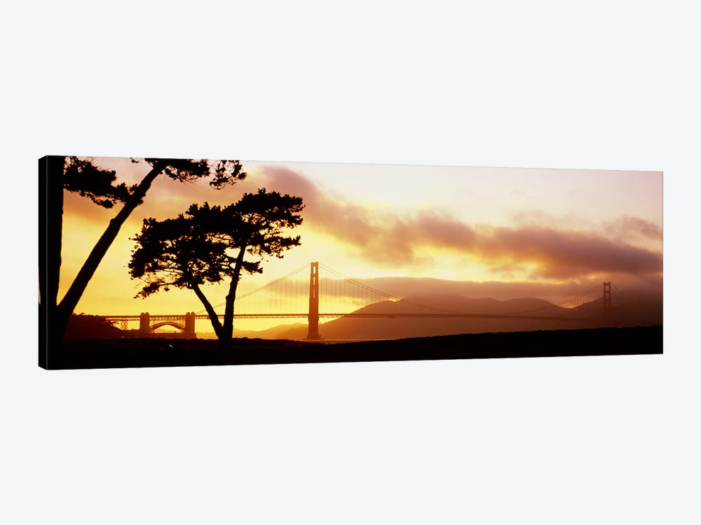 Silhouette of trees at sunset, Golden Gate Bridge, San Francisco, California, USA by Panoramic Images 1-piece Canvas Artwork