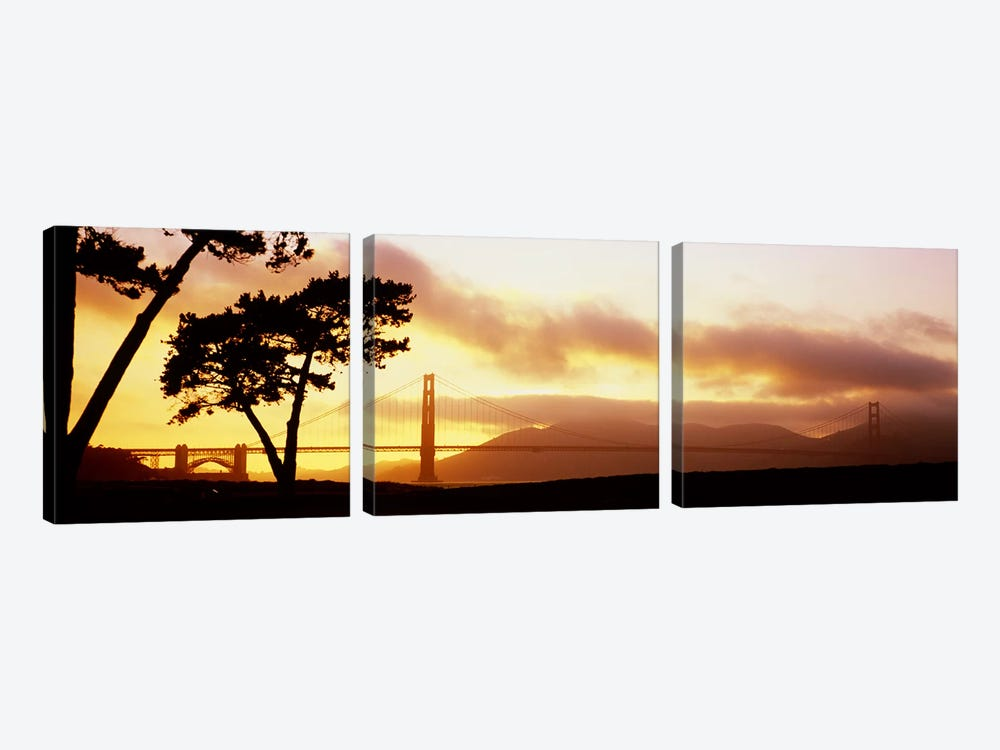 Silhouette of trees at sunset, Golden Gate Bridge, San Francisco, California, USA by Panoramic Images 3-piece Canvas Artwork