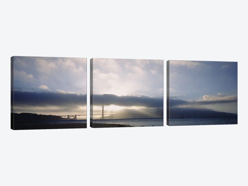 Silhouette of a bridge, Golden Gate Bridge, San Francisco, California, USA 3-piece Canvas Art Print