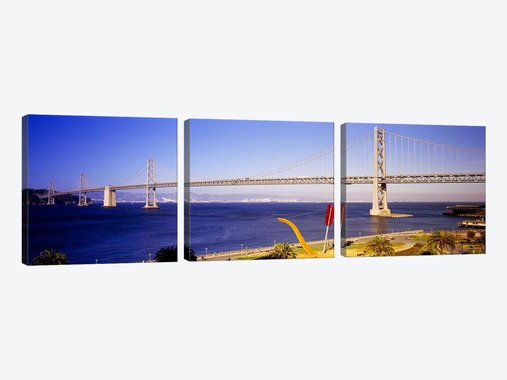 Bridge over an inlet, Bay Bridge, San Francisco, California, USA by Panoramic Images 3-piece Canvas Artwork