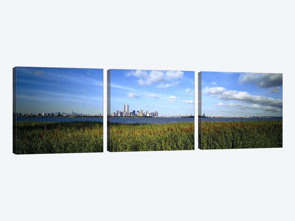 Buildings at the waterfront, New Jersey, New York City, New York State, USA by Panoramic Images 3-piece Canvas Artwork