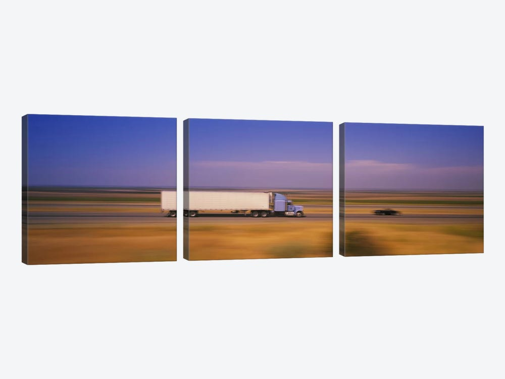Blurred Motion View Of Traffic, Interstate 5 (I-5), California, USA by Panoramic Images 3-piece Canvas Artwork