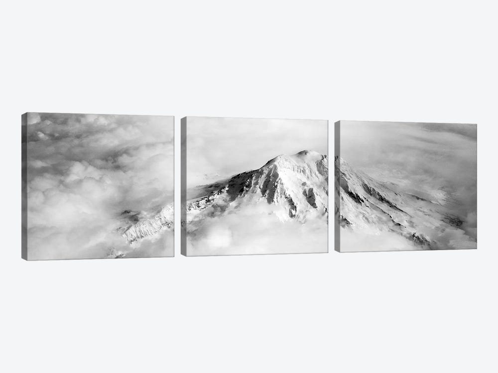 Aerial view of a snowcapped mountain, Mt Rainier, Mt Rainier National Park, Washington State, USA by Panoramic Images 3-piece Art Print