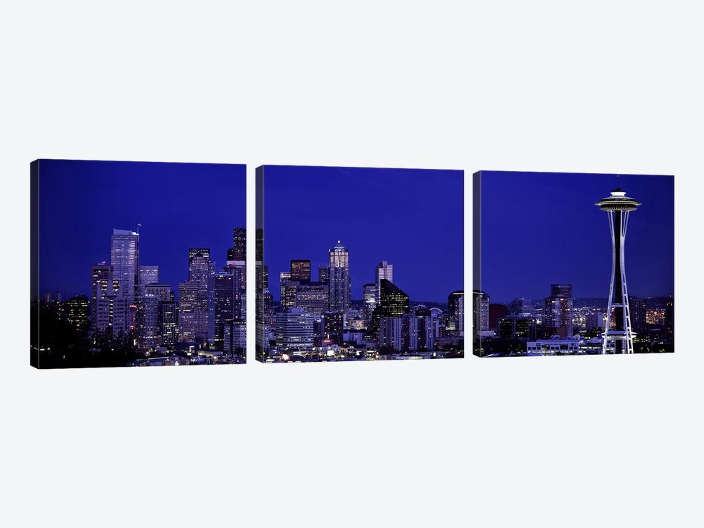 Skyscrapers in a citySeattle, Washington State, USA by Panoramic Images 3-piece Canvas Art Print