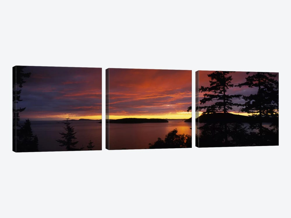 Clouds over the sea at dusk, Rosario Strait, San Juan Islands, Fidalgo Island, Skagit County, Washington State, USA by Panoramic Images 3-piece Canvas Art Print