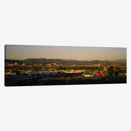 High angle view of a city, San Gabriel Mountains, Hollywood Hills, City of Los Angeles, California, USA Canvas Print #PIM5808} by Panoramic Images Canvas Art