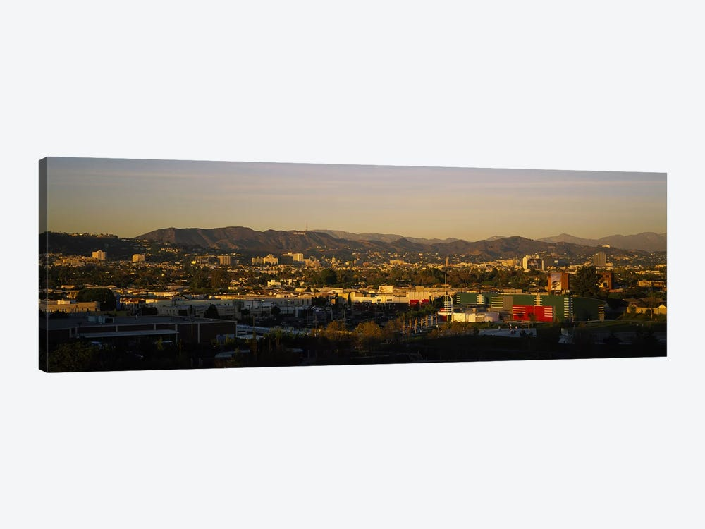 High angle view of a city, San Gabriel Mountains, Hollywood Hills, City of Los Angeles, California, USA by Panoramic Images 1-piece Canvas Print