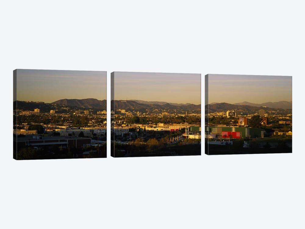 High angle view of a city, San Gabriel Mountains, Hollywood Hills, City of Los Angeles, California, USA by Panoramic Images 3-piece Art Print