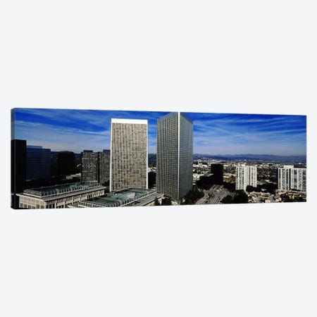 High angle view of a city, San Gabriel Mountains, Hollywood Hills, Century City, City of Los Angeles, California, USA Canvas Print #PIM5809} by Panoramic Images Canvas Art