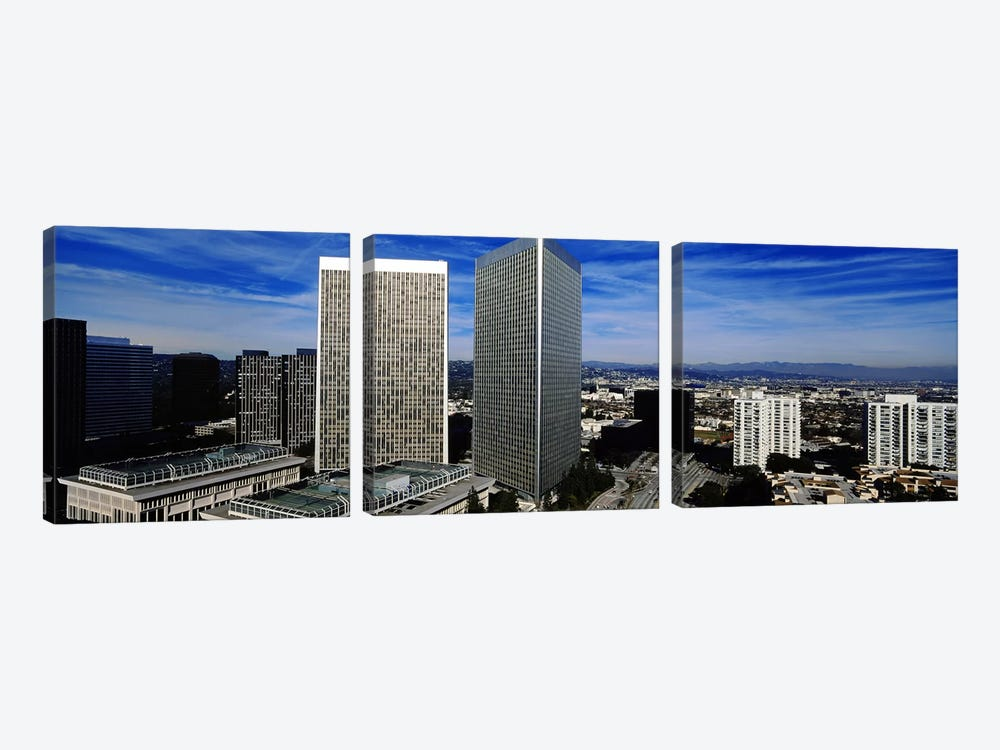High angle view of a city, San Gabriel Mountains, Hollywood Hills, Century City, City of Los Angeles, California, USA by Panoramic Images 3-piece Canvas Wall Art