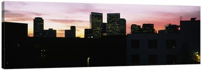 Silhouette of buildings in a city, Century City, City of Los Angeles, California, USA Canvas Print #PIM5811