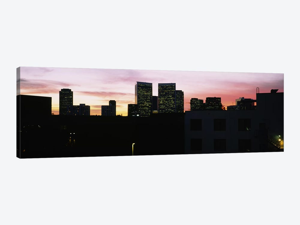 Silhouette of buildings in a city, Century City, City of Los Angeles, California, USA by Panoramic Images 1-piece Canvas Print