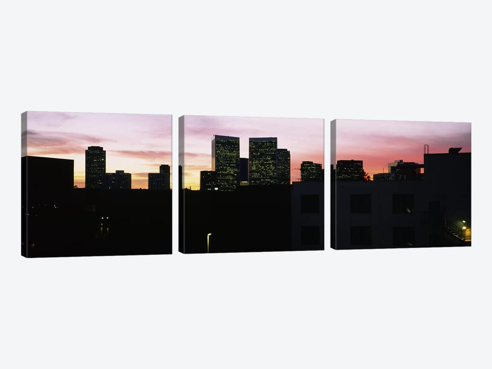 Silhouette of buildings in a city, Century City, City of Los Angeles, California, USA by Panoramic Images 3-piece Art Print