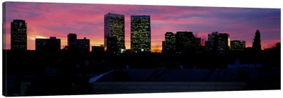 Silhouette of buildings in a city, Century City, City of Los Angeles, California, USA #2 Canvas Print #PIM5812