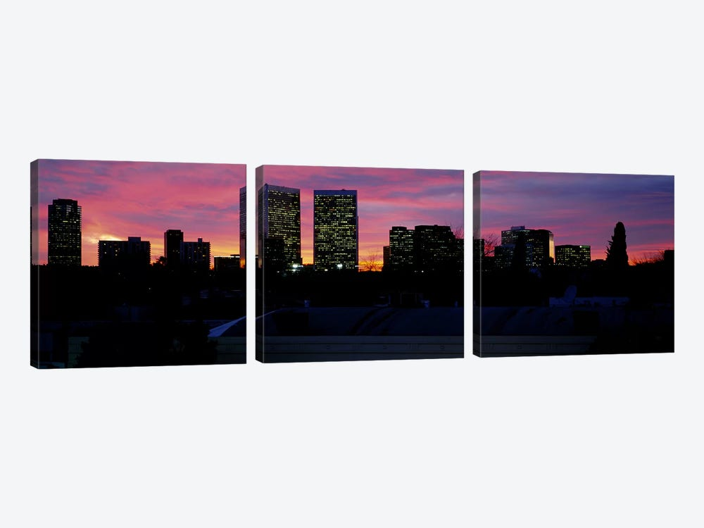 Silhouette of buildings in a city, Century City, City of Los Angeles, California, USA #2 by Panoramic Images 3-piece Canvas Art